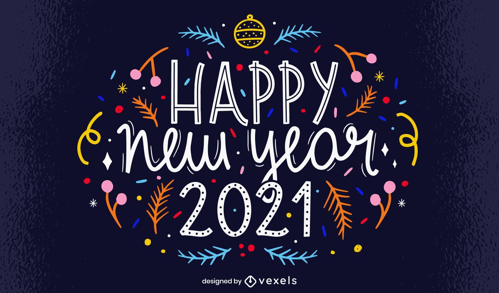 Feliz año nuevo 2021 diseño de letras
