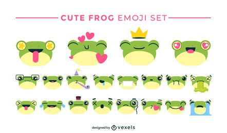 Cute frog emoji set design