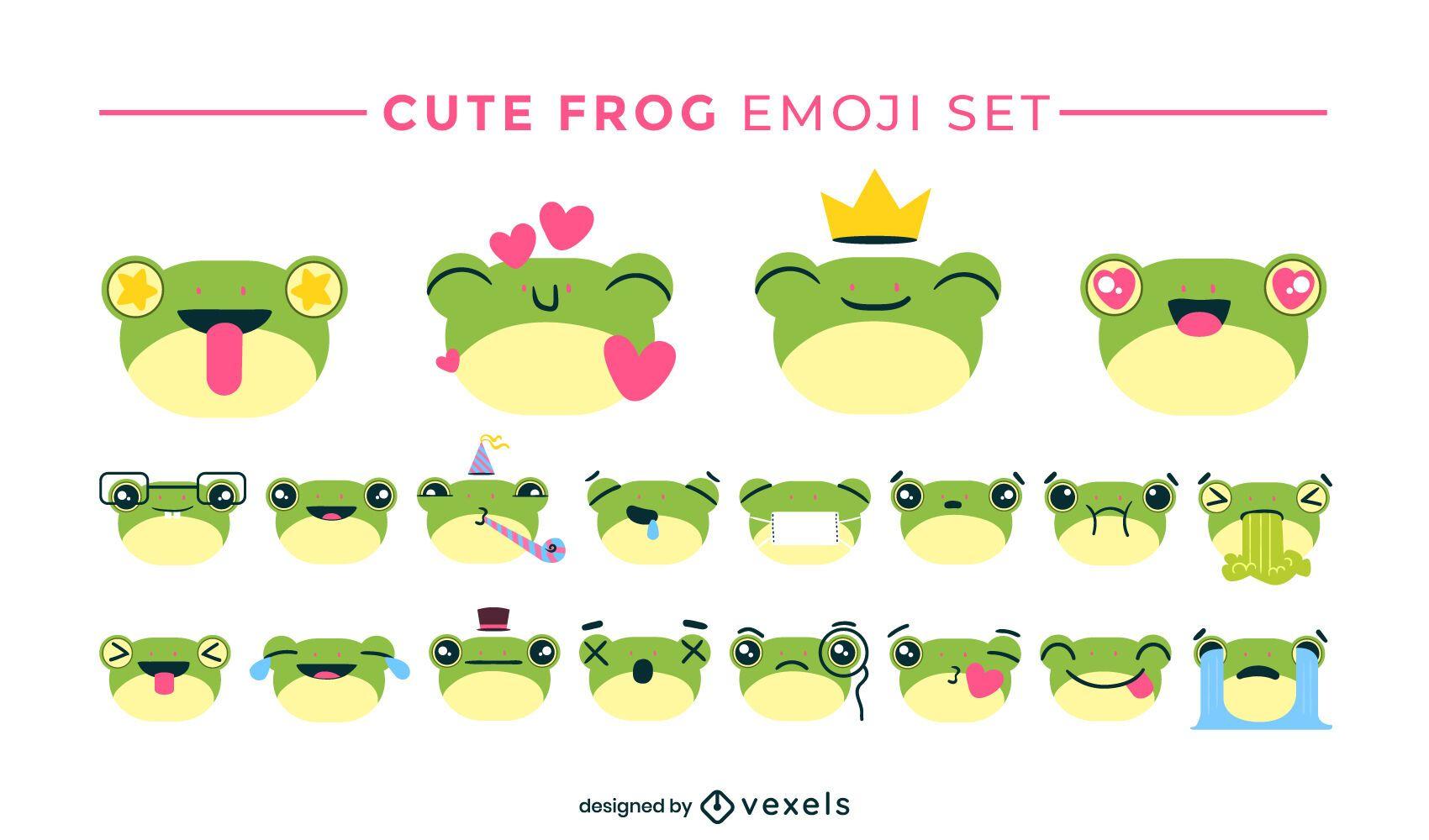 Cute frog emoji set design