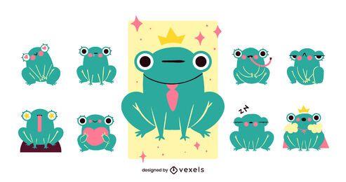 Diseño de conjunto de dibujos animados de rana linda