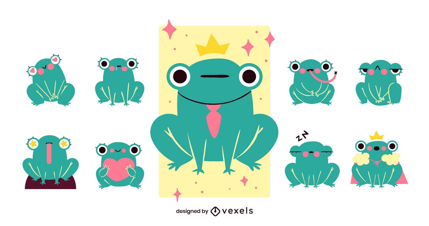 Cute frog cartoon set design