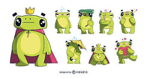 Cute frog character set