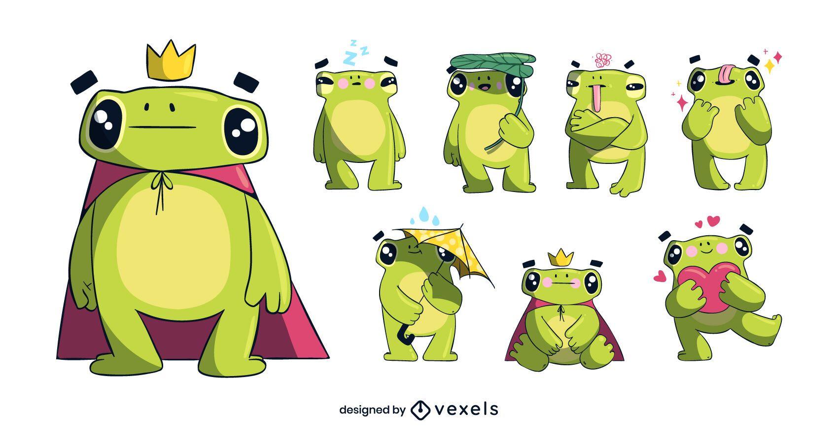Conjunto de caracteres de rana linda
