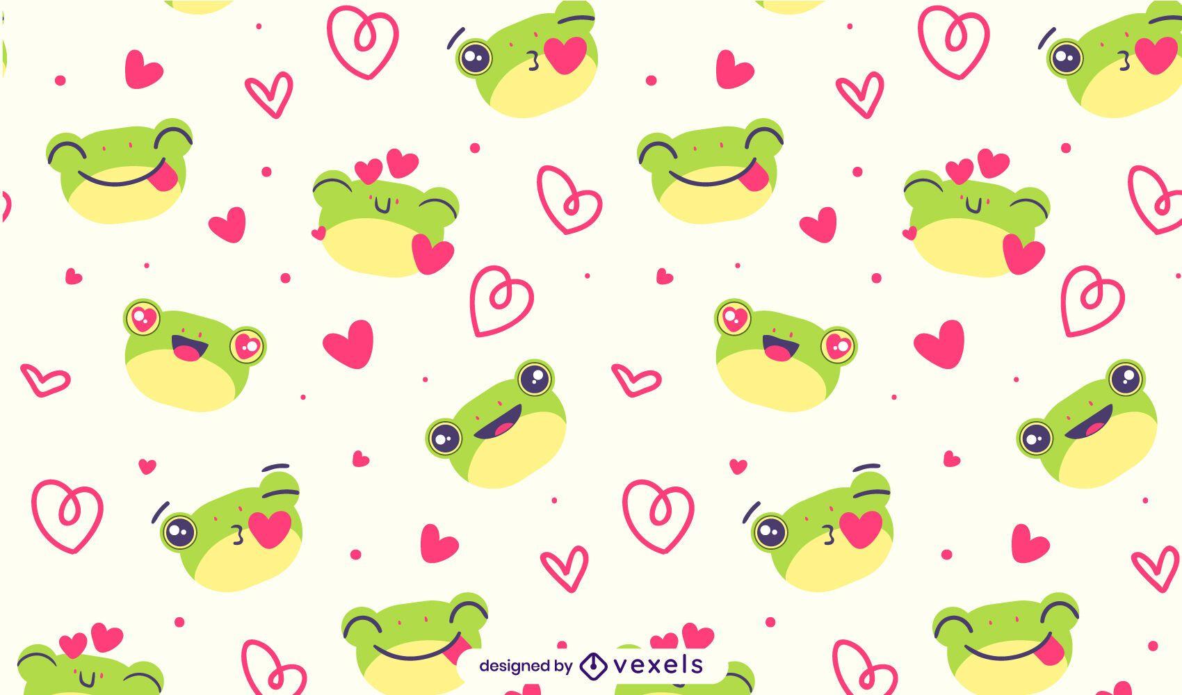 Diseño de patrón de ranas lindo