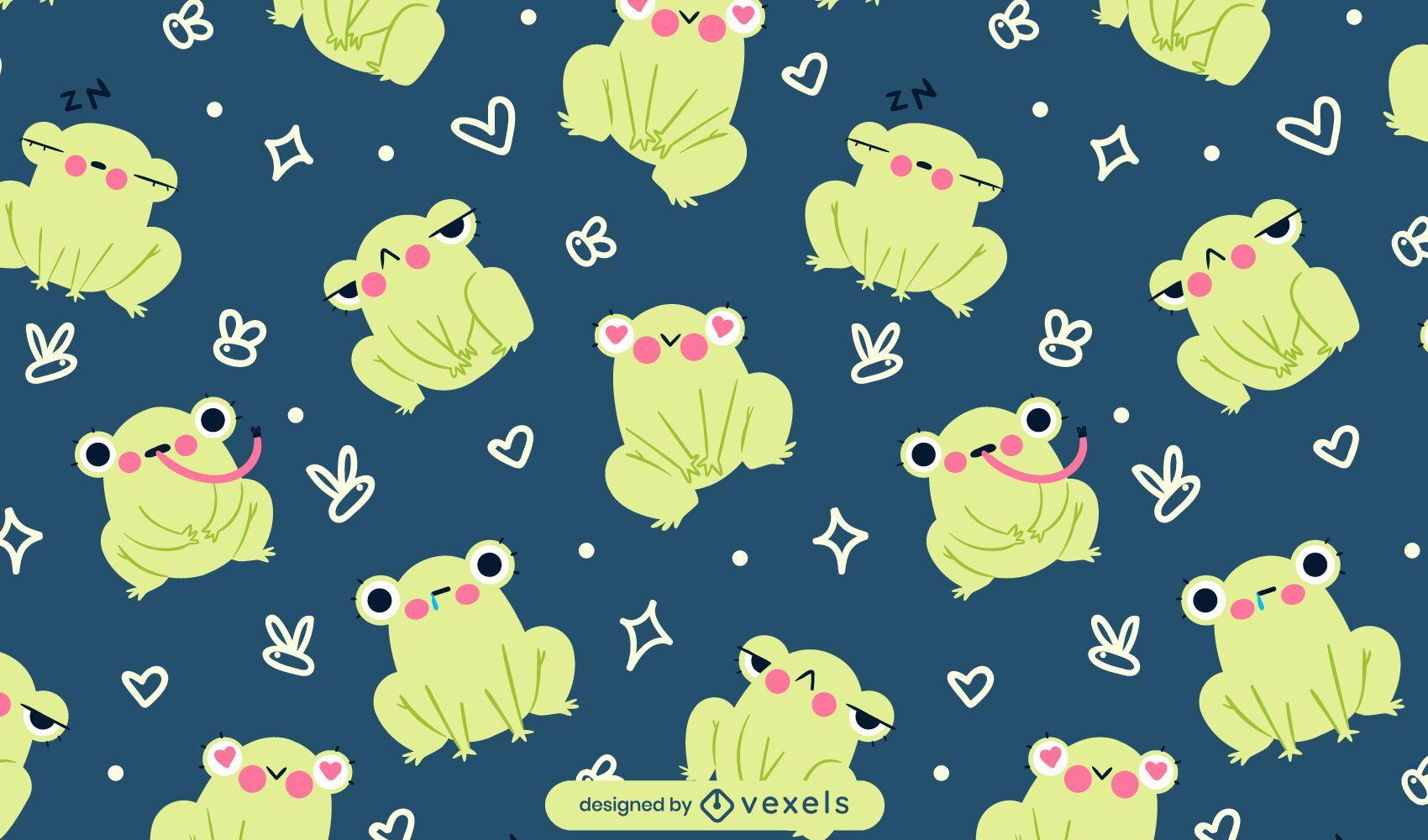 Diseño de patrón de ranas de dibujos animados lindo