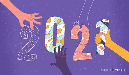 2021 ilustração colorida design