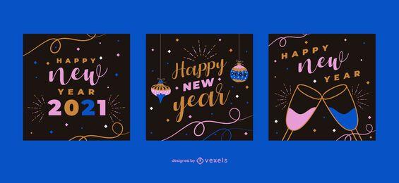 Feliz año nuevo conjunto de publicaciones en redes sociales