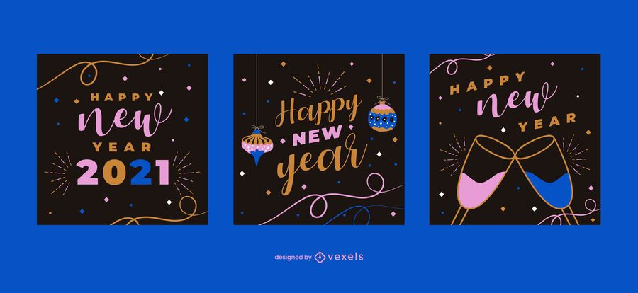 Feliz ano novo post conjunto de mídia social