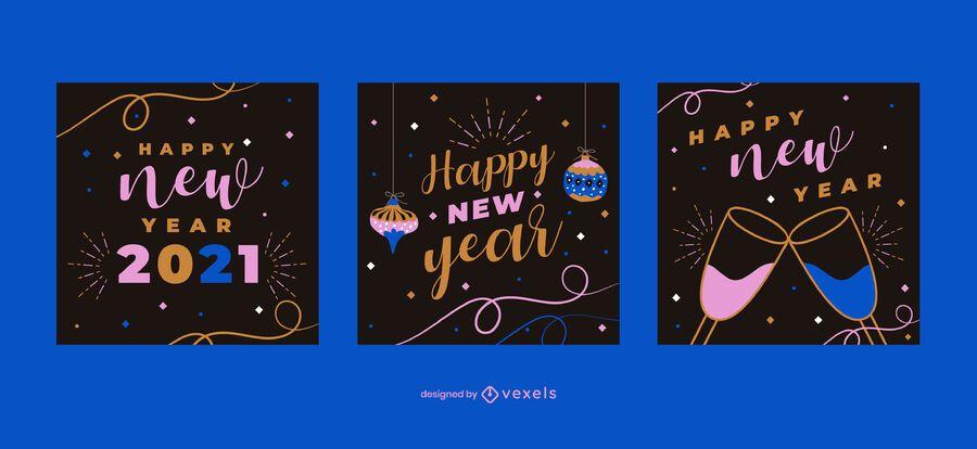 Happy new year social media post set