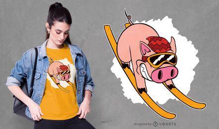 Diseño de camiseta de cerdo esquiador.
