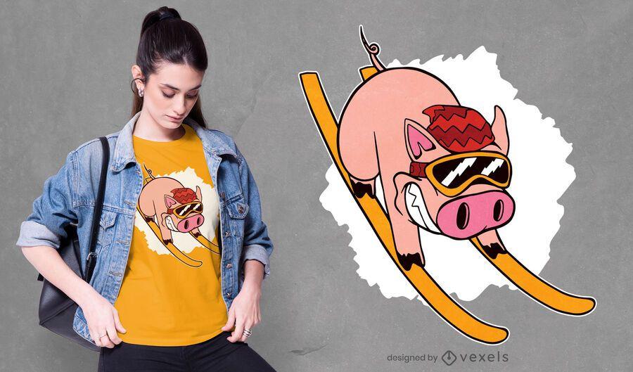 Skier pig t-shirt design
