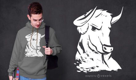 Diseño de camiseta de toro fuerte