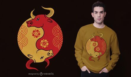 Diseño de camiseta Yin yang Ox