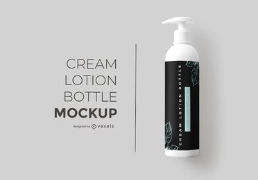 Cream lotion bottle mockup design
