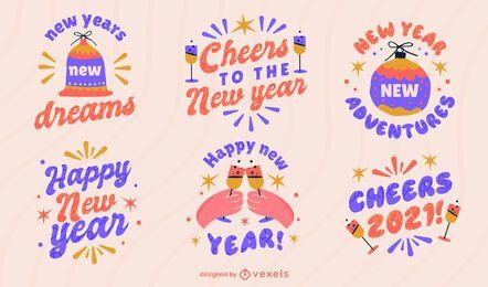 Frohes neues Jahr Abzeichen gesetzt