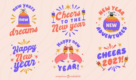 Happy new year badge set