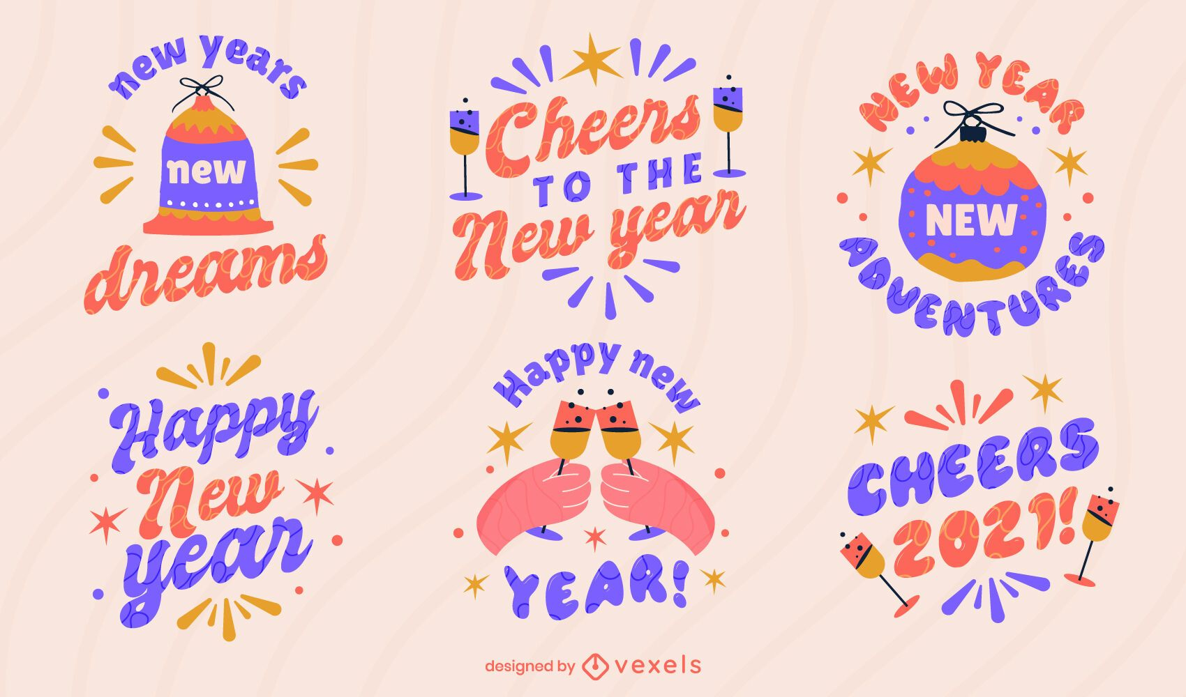 Feliz año nuevo conjunto de insignias