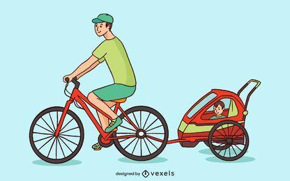 Diseño de ilustración de remolque de bicicleta