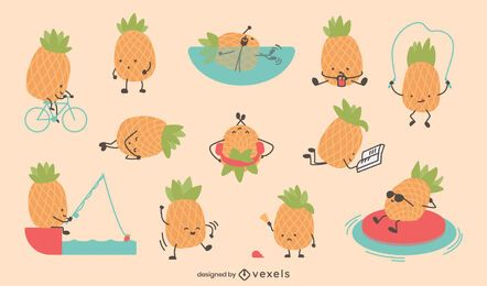 Cute pineapple character set