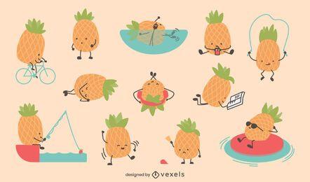 Süßer Ananas-Zeichensatz