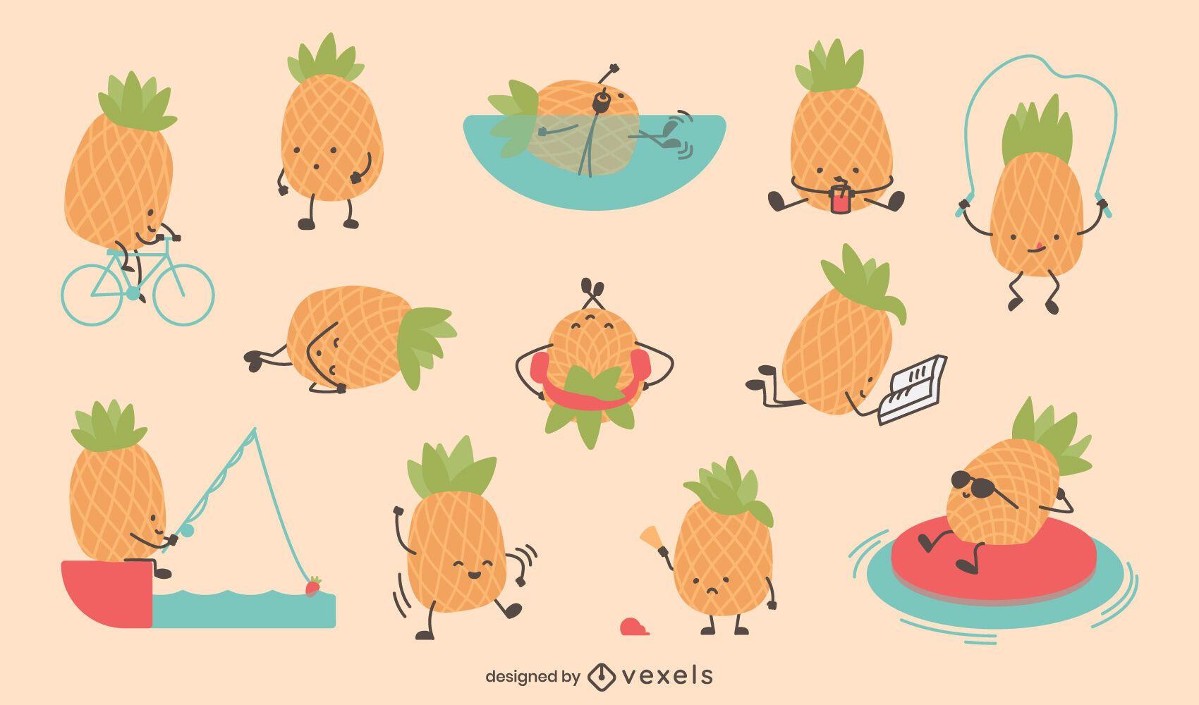 Cute pineapple character set