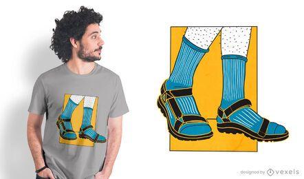 Diseño de camiseta de sandalias de calcetines.