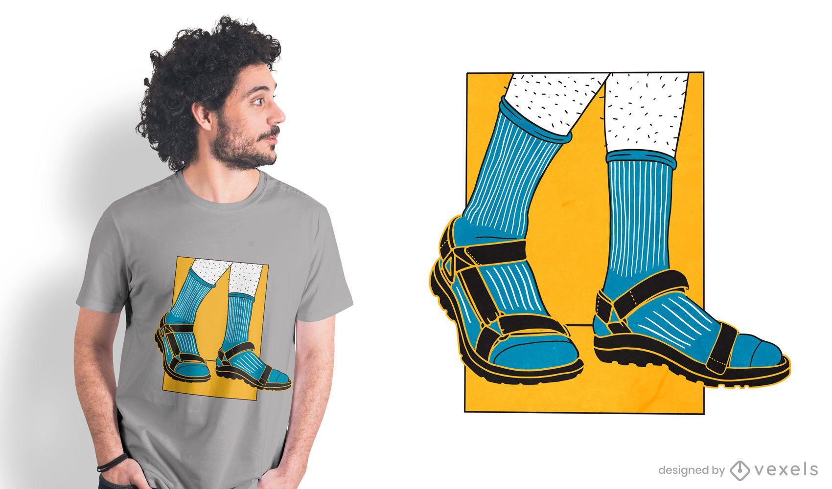 Socks sandals t-shirt design