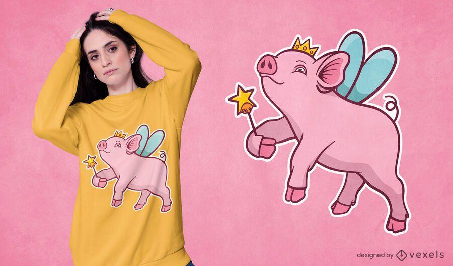 Diseño de camiseta princesa cerdo