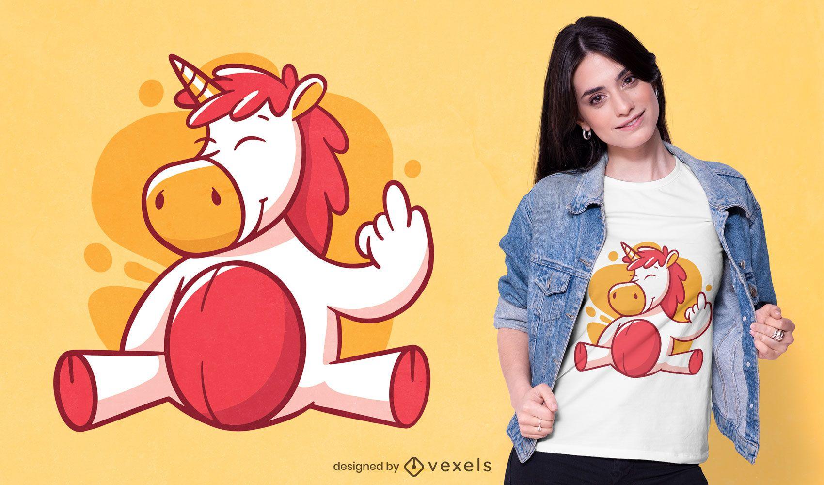 Design de camiseta Unicorn flip off