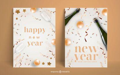 Conjunto de pôsteres de feliz ano novo