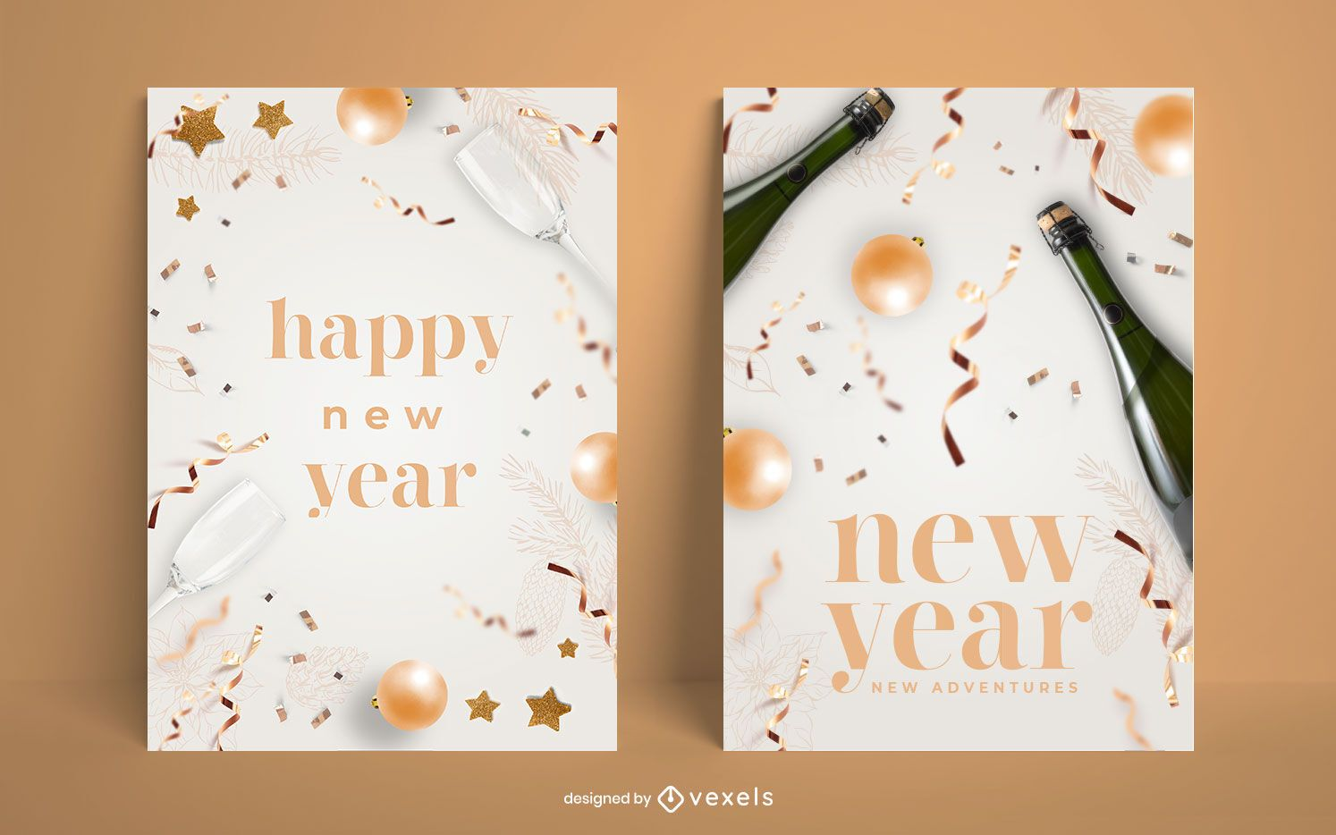 Happy new year poster set