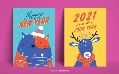 New year animals poster set