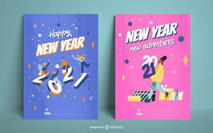 Frohes neues Jahr Kartensatz