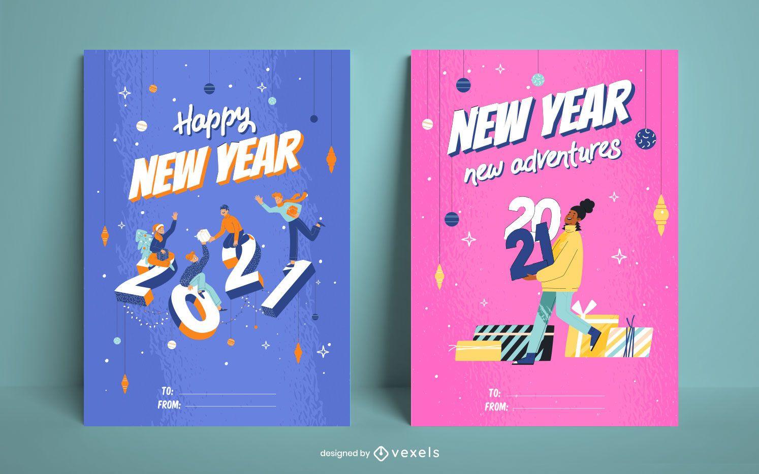 Happy new year card set