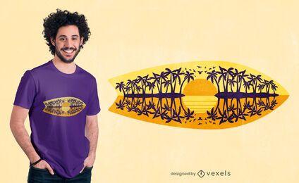 Diseño de camiseta de reflexión de tabla de surf.