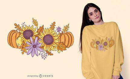 Diseño de camiseta de ramo de otoño.