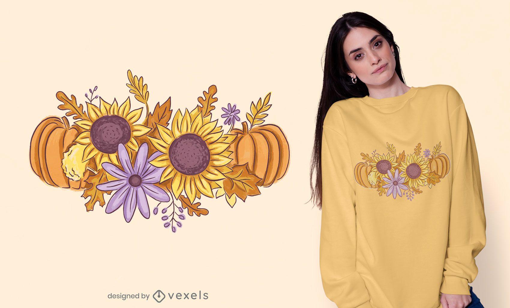 Design de t-shirt de bouquet de outono