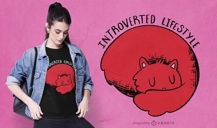 Design de camiseta de gato introvertido
