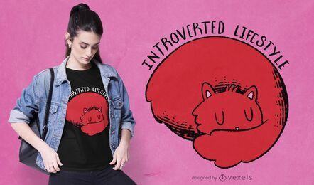 Diseño de camiseta de gato introvertido