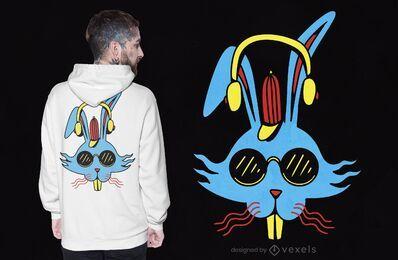 Design de t-shirt com auscultadores de coelho