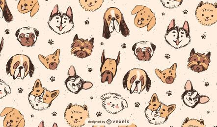 Cute dog breeds pattern design