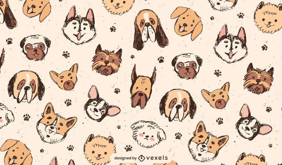 Lindo diseño de patrón de razas de perros