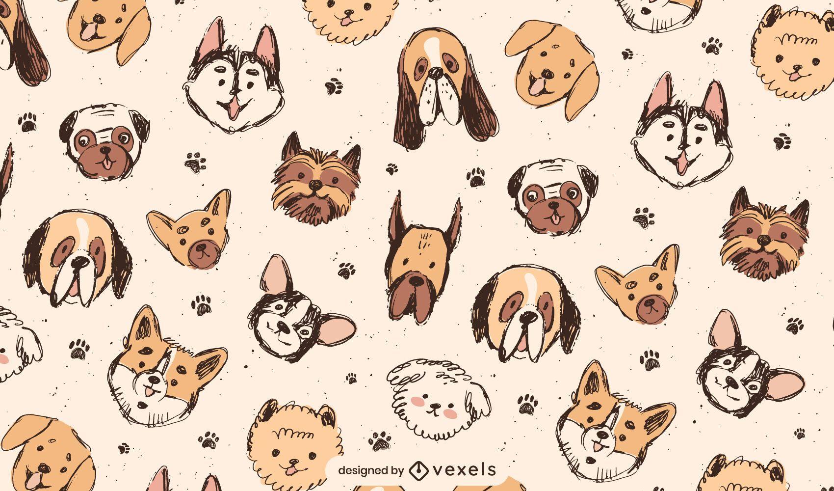 Desenho de padrão de raças de cães fofos