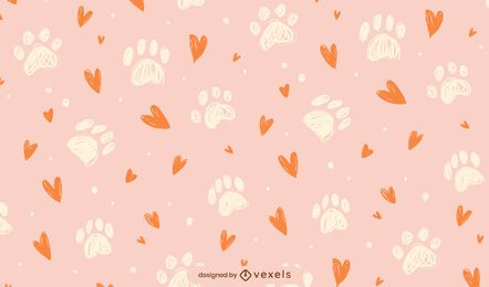 Paw prints hearts pattern design