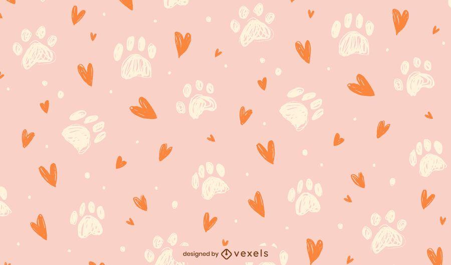 Paw prints hearts pattern design