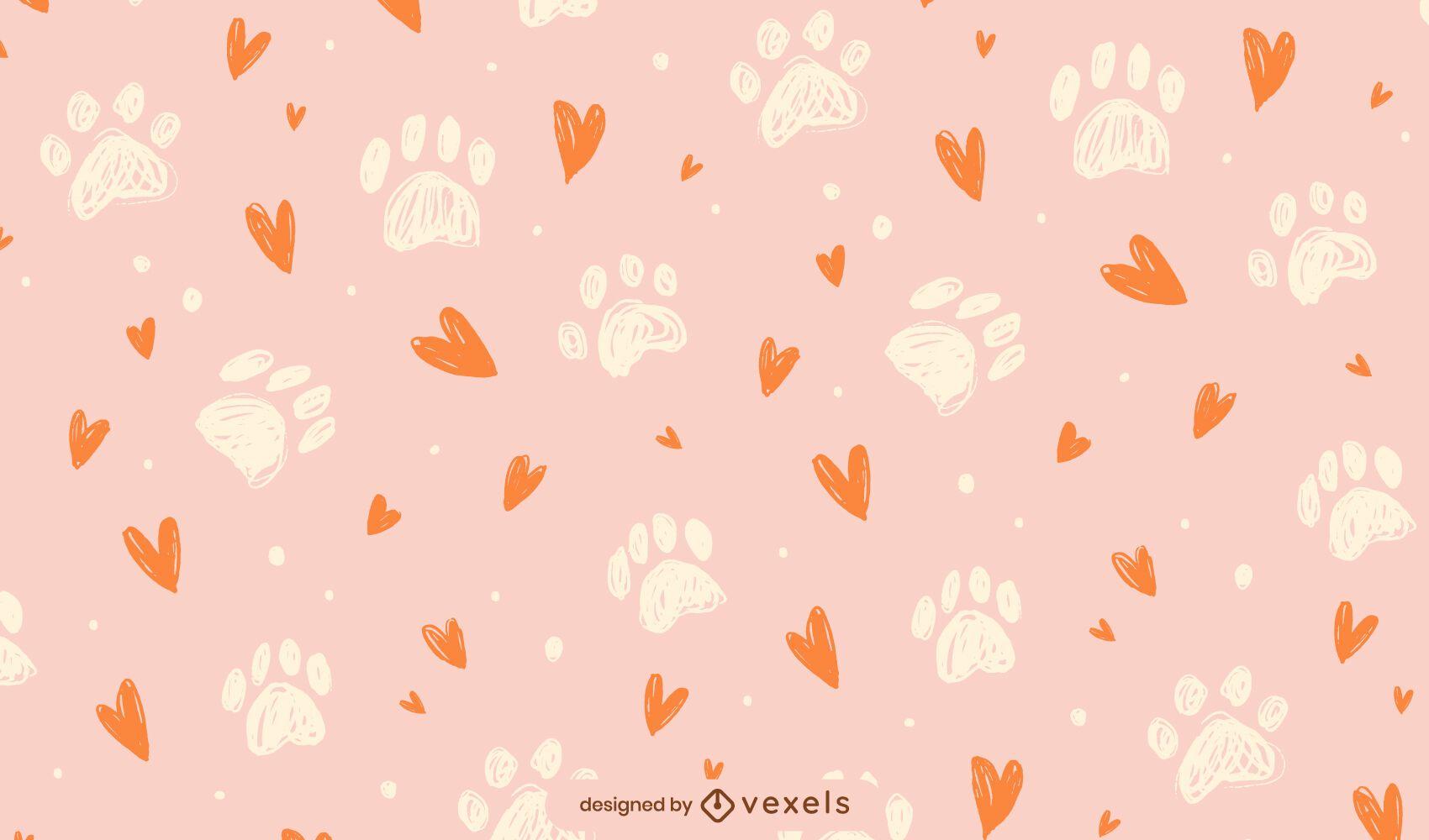 Diseño de patrón de corazones de huellas de pata