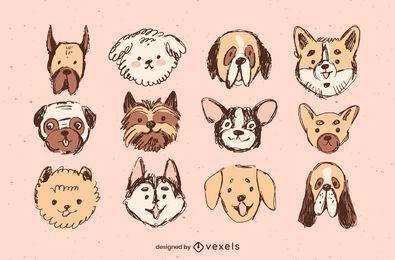 Conjunto de diseño de raza de perro dibujado a mano