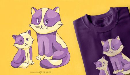 Diseño de camiseta de gato y gatito.