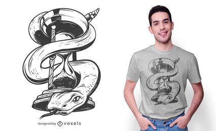 Design de t-shirt de cobra ampulheta