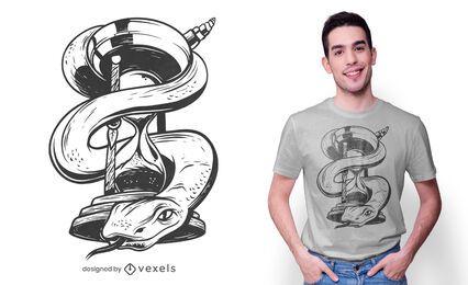 Diseño de camiseta de serpiente de reloj de arena